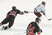 Brian Deeth unable to stop Chris Collins who scored - The Boston College Eagles defeated Northeastern University Huskies 5-3 on Saturday, November 19, 2005, at Kelley Rink in Conte Forum at Chestnut Hill, MA.