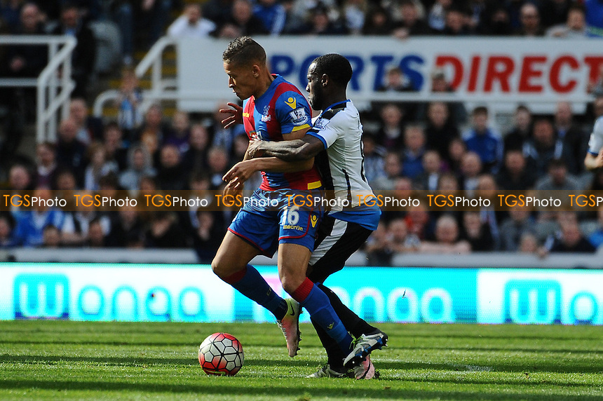 Dwight Gayle of Crystal Palace battles with Vurnon Anita of Newcastle United during Newcastle United vs Crystal Palace, Barclays Premier League Football at St. James' Park on 30th April 2016