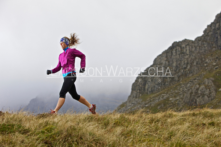 Sarah Ridgeway on her morning training run in the Snowdonia National Park, North Wales