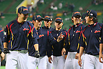 (L to R) .Masahiro Tanaka (JPN), .Yuichi Honda (JPN), .Hayato Sakamoto (JPN), .Hirokazu Sawamura (JPN), .MARCH 6, 2013 - WBC : .2013 World Baseball Classic .1st Round Pool A .between Japan 3-6 Cuba .at Yafuoku Dome, Fukuoka, Japan. .(Photo by YUTAKA/AFLO SPORT)