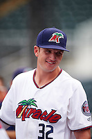 Fort Myers Miracle Brad Hartong (32) in the dugout during a game against the St. Lucie Mets on August 9, 2016 at Hammond Stadium in Fort Myers, Florida.  St. Lucie defeated Fort Myers 1-0.  (Mike Janes/Four Seam Images)