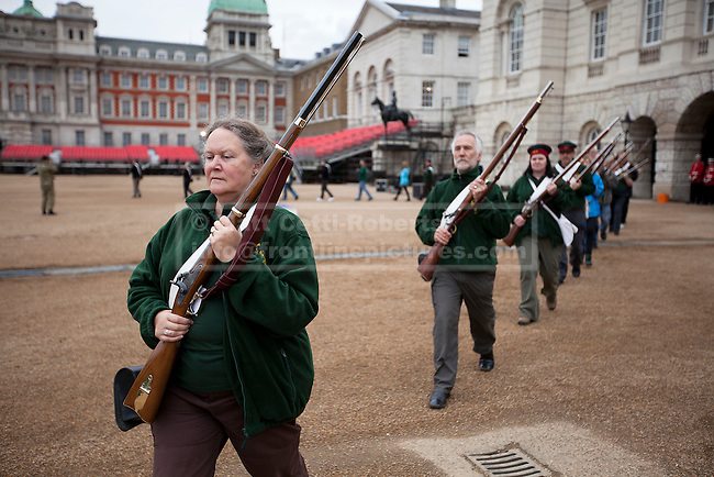 12/06/2012. LONDON, UK. Reenactors  of the 'Moscow Militia' practice during a dress rehearsal ahead of the annual Beating Retreat ceremony on Horse Guard's Parade today (12/06/12). Photo credit: Matt Cetti-Roberts