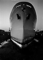 Juni 1962.  Scheepswerf Mercantile Marine Engineering in Antwerpen.  Schip Benjamin Coates uit Monrovia.