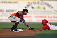 Aberdeen IronBirds second baseman Stephen Wilkerson (14) tags out Wilmer Oberto (22) attempting to steal during a game against the Williamsport Crosscutters on August 4, 2014 at Bowman Field in Williamsport, Pennsylvania.  Aberdeen defeated Williamsport 6-3.  (Mike Janes/Four Seam Images)