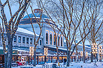 A snowy Christmas at Quincy Market, Faneuil Hall Marketplace, Boston, MA