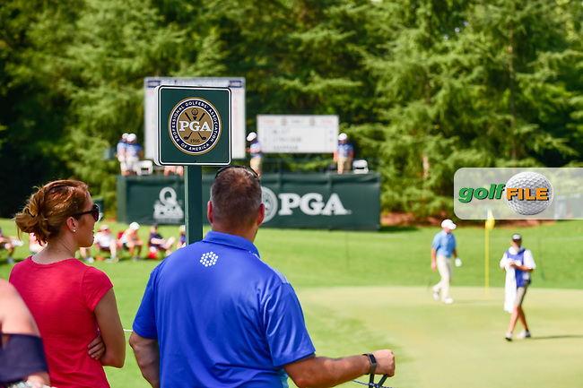 A view of the PGA signage near the 8th green during Friday's round 2 of the PGA Championship at the Quail Hollow Club in Charlotte, North Carolina. 8/11/2017.<br /> Picture: Golffile | Ken Murray<br /> <br /> <br /> All photo usage must carry mandatory copyright credit (&copy; Golffile | Ken Murray)