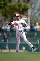 Baltimore Orioles infielder Manny Machado (13) during a Spring Training game against the Tampa Bay Rays on March 14, 2015 at Ed Smith Stadium in Sarasota, Florida.  Tampa Bay defeated Baltimore 3-2.  (Mike Janes/Four Seam Images)