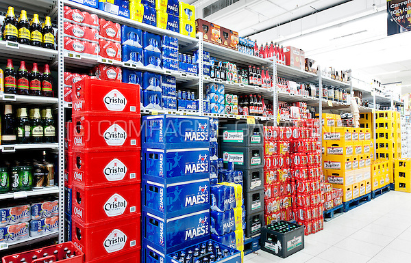 Illustration picture of beer displays in a supermarket (Belgium, 14/05/2014)