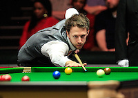 Judd Trump plays his way out of a safety shot during the Dafabet Masters Quarter Final 2 match between Judd Trump and Neil Robertson at Alexandra Palace, London, England on 15 January 2016. Photo by Liam Smith / PRiME Media Images.