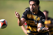 Pat Masoe passes wide during the Counties Manukau Premier 1 McNamara Cup Final between Ardmore Marist and Bombay, played at Navigation Homes Stadium on Saturday July 20th 2019.<br />  Bombay won the McNamara Cup for the 5th time in 6 years, 33 - 18 after leading 14 - 10 at halftime.<br /> Photo by Richard Spranger.