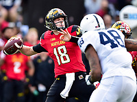College Park, MD - NOV 11, 2017: Maryland Terrapins quarterback Max Bortenschlager (18) in the pocket during game between Maryland and Penn State at Capital One Field at Maryland Stadium in College Park, MD. (Photo by Phil Peters/Media Images International)