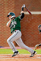 Yoandry Galan #2 of the Manhattan Jaspers follows through on his swing against the High Point Panthers at Willard Stadium on March 9, 2012 in High Point, North Carolina.  The Panthers defeated the Jaspers 11-6.  (Brian Westerholt/Four Seam Images)