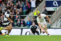 Jack Clifford of England scores a try during the match between England and Barbarians at Twickenham Stadium on Sunday 31st May 2015 (Photo by Rob Munro)