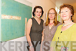 EXHIBIT: Pictured at the opening of the latest exhibition at the MacBride Art Gallery, Killarney, on Saturday were Joanne McCarthy, Finola Cooney, artist and Mary McBride.   Copyright Kerry's Eye 2008