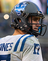 Duke quarterback Daniel Jones. The Pitt Panthers football team defeated the Duke Blue Devils 54-45 on November 10, 2018 at Heinz Field, Pittsburgh, Pennsylvania.