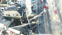 Pictured: Aerial picture of fire engines extinguishing the fire at Belgrave House hotel in Aberystwyth.<br /> Re: A man who killed a hotel guest after setting fire to his hotel, by lighting curtains and a linen cupboard, is due to be sentenced by Swansea Crown Court.<br /> 31 year old Damion Harris, of Llanbadarn Fawr, west Wales, admitted the manslaughter of Juozas Tunaitis, arson and inflicting grievous bodily harm.<br /> Belgrave House Hotel (Ty Belgrave Hotel) in Aberystwyth, Ceredigion was burned down in July 2018