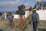 Boat between Sao Vicente island and Santo Antao ilsland. Mindelo harbour..Embarquement pour la traversee de la passe entre l ile de Sao Vicente et celle de Santo Antao.