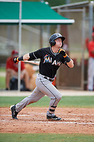 GCL Marlins center fielder Cameron Baranek (11) follows through on a swing during the second game of a doubleheader against the GCL Nationals on July 23, 2017 at Roger Dean Stadium Complex in Jupiter, Florida.  GCL Nationals defeated the GCL Marlins 1-0.  (Mike Janes/Four Seam Images)
