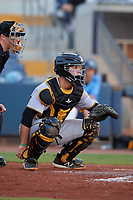 Bradenton Marauders catcher Jason Delay (5) awaits the pitch during a game against the Charlotte Stone Crabs on August 6, 2018 at Charlotte Sports Park in Port Charlotte, Florida.  Charlotte defeated Bradenton 2-1.  (Mike Janes/Four Seam Images)