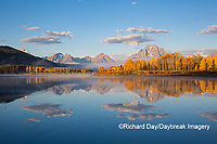 67545-09311 Sunrise at Oxbow Bend in fall; Grand Teton National Park; WY