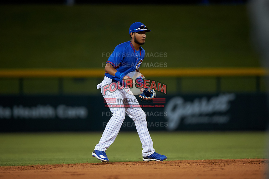 AZL Cubs 2 shortstop Luis Verdugo (17) during an Arizona League game against the AZL Dbacks on June 25, 2019 at Sloan Park in Mesa, Arizona. AZL Cubs 2 defeated the AZL Dbacks 4-0. (Zachary Lucy/Four Seam Images)