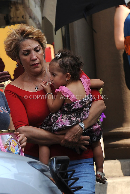 """WWW.ACEPIXS.COM . . . . . ....July 16 2009, New York City....Mother of actress Jennifer Lopez, Guadalupe Lopez carries granddaughter Emme on the set of the new movie """"The Back-Up Plan"""" in Downtown Manhattan on July 16, 2009 in New York City.....Please byline: KRISTIN CALLAHAN - ACEPIXS.COM.. . . . . . ..Ace Pictures, Inc:  ..tel: (212) 243 8787 or (646) 769 0430..e-mail: info@acepixs.com..web: http://www.acepixs.com"""