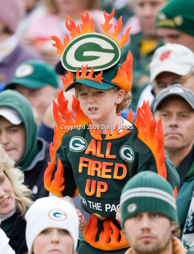 GREEN BAY, WI - OCTOBER 19: A young fan shows his Packers spirit during the Green Bay Packers game against the Indianapolis Colts at Lambeau Field on October 19, 2008 in Green Bay, Wisconsin. The Packers beat the Colts 34-14. (Photo by David Stluka)