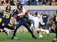 Chase Thomas of Stanford sacks California quarterback Zach Maynard causing Maynard to fumble the ball during 115th Big Game at Memorial Stadium in Berkeley, California on October 20th, 2012.  Stanford defeated California, 21-3.
