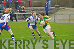 A Landers (Waterford) goes for Mary Okeeffe (Kerry) in The Ladies  National Football Laegue on Sunday at Castleisland Desmond GAA Grounds.  ..