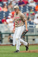 Virginia Cavaliers pitcher Josh Sborz (27) celebrates recording the save against the Arkansas Razorbacks in Game 1 of the NCAA College World Series on June 13, 2015 at TD Ameritrade Park in Omaha, Nebraska. Virginia defeated Arkansas 5-3. (Andrew Woolley/Four Seam Images)