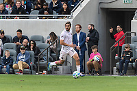 LOS ANGELES, CA - MARCH 01: Rodolfo Pizarro  #10 of Inter Miami CF streaks down the sideline in a match against LAFC during a game between Inter Miami CF and Los Angeles FC at Banc of California Stadium on March 01, 2020 in Los Angeles, California.