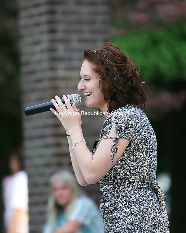 TORRINGTON, CT 7/21/07- 072107BZ09-  Jennifer Roth, of Torrington, sings during the semi-final round of the Torrington Parks and Recreation Department's 2nd Annual Northwest Idol Competition at Coe Park in Torrington Saturday.  The top 6 contestants from both the 16 to 30-year-old group and the 31 and over age group will go on to compete for the overall title August, 11, 2007 at the Warner Theater in Torrington.<br /> Jamison C. Bazinet Republican-American