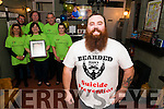Bearded Man Fundraiser for Kerry Lifeline in the Duggans Bar, Castlemaine last Saturday night. Pictured front Gary O'Dowd, back Lindsay Fredman (Manager of South West Counselling Centre Killarney), Nikki Wissell (South West Counselling Centre Killarney, Aoife Angland, Derek Whelan, Jim Morris and Tim Clifford.
