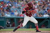 Frisco RoughRiders Andretty Cordeo (4) bats during a Texas League game against the Amarillo Sod Poodles on July 12, 2019 at Dr Pepper Ballpark in Frisco, Texas.  (Mike Augustin/Four Seam Images)