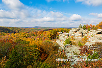 63895-16318 Camel Rock in fall color Garden of the Gods Recreation Area Shawnee National Forest IL