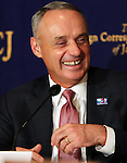 March 7, 2017, Tokyo, Japan - Major League Baseball (MLB) commissioner Robert Manftred Jr. speaks before press  in Tokyo on Tuesday, March 7, 2017. Manfred is now here as the 4th World Baseball Classic (WBC) first and second round starts at the Tokyo Dome stadium.    (Photo by Yoshio Tsunoda/AFLO) LwX -ytd-