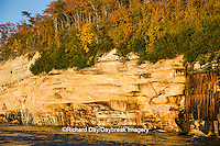 64745-00218 Pictured Rocks National Lakeshore in fall from Lake Superior near Munising MI