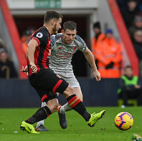 Bournemouth's Ryan Fraser (left) under pressure from Liverpool's James Milner (right) <br /> <br /> Photographer David Horton/CameraSport<br /> <br /> The Premier League - Bournemouth v Liverpool - Saturday 8th December 2018 - Vitality Stadium - Bournemouth<br /> <br /> World Copyright © 2018 CameraSport. All rights reserved. 43 Linden Ave. Countesthorpe. Leicester. England. LE8 5PG - Tel: +44 (0) 116 277 4147 - admin@camerasport.com - www.camerasport.com
