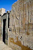 Ancient hieroglyphs on wall and doorway, Temple of Karnak, located at modern day Luxor or ancient Thebes, Egypt