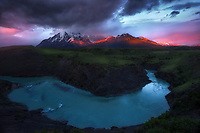Light leak over the Towers of Paine. Torres Del Paine National Park, Chile