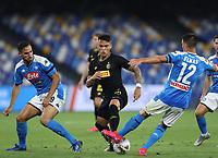 13th June 2020; Stadio San Paolo, Naples, Campania, Italy; Coppa Italia Football, Napoli versus Inter Milan; Lautaro Martinez of Inter is tackled by Elmas of Napoli