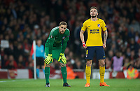 Goalkeeper Jan Oblak of Atletico Madrid & Saúl Ñiguez of Atletico Madrid during the UEFA Europa League Semi Final 1st leg match between Arsenal and Atletico Madrid at the Emirates Stadium, London, England on 26 April 2018. Photo by Andy Aleksiejczuk / PRiME Media Images