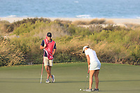 Marianne Skarpnord (NOR) & Richard Green (AUS) during the first round of the Fatima Bint Mubarak Ladies Open played at Saadiyat Beach Golf Club, Abu Dhabi, UAE. 10/01/2019<br /> Picture: Golffile | Phil Inglis<br /> <br /> All photo usage must carry mandatory copyright credit (© Golffile | Phil Inglis)