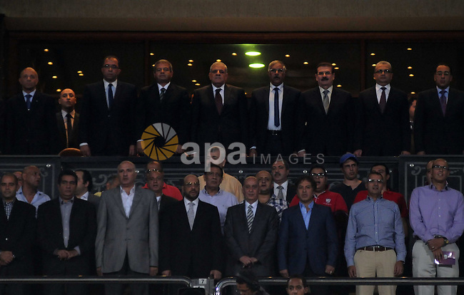 Egyptians gather for a group photo following the qualifying match of 2015 Africa Cup soccer match, in Cairo, capital of Egypt, on Oct. 15, 2014. Egypt won the match with 2-0. Photo by Amr Sayed