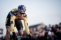 Wout van Aert (BEL/Jumbo - Visma) in his first race back after his severe crash in the 2019 Tour de France.<br /> <br /> Azencross Loenhout 2019 (BEL)<br />  <br /> ©kramon