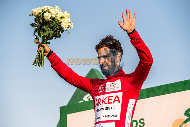 Nacer Bouhanni (FRA) Team Arkea Samsic takes over the points Red Jersey at the end of Stage 2 of the Saudi Tour 2020 running 187km from Sadus Castle to Al Bujairi, Saudi Arabia. 5th February 2020. <br /> Picture: ASO/Kåre Dehlie Thorstad | Cyclefile<br /> All photos usage must carry mandatory copyright credit (© Cyclefile | ASO/Kåre Dehlie Thorstad)