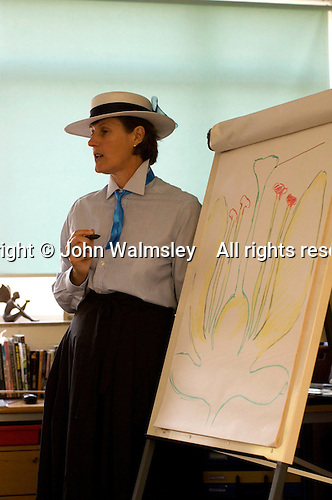 """Teacher and pupils dress up and adopt """"Victorian"""" classroom behaviour, Open Day at State Junior School.."""