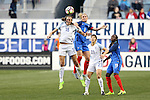 CHESTER, PA - MARCH 01: Jill Scott (ENG) (18) and Amandine Henry (FRA) (6) challenge for a header. The England Women's National Team played the France Women's National Team as part of the She Believes Cup on March, 1, 2017, at Talen Engery Stadium in Chester, PA. The France won the game 2-1.