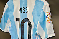 Santa Clara, CA - Monday June 06, 2016: Argentina locker room featuring the uniform of Argentina midfielder Lionel Messi (10) prior to a Copa America Centenario Group D match between Argentina (ARG) and Chile (CHI) at Levi's Stadium.