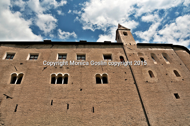Looking up at Tirol Castle in Dorf Tirol near Merano, Italy; Tirol Castle dates back to 1100, it acted as the seat of Tyrol's sovereigns until 1420 when the Habsburgs moved the administrative seat to Innsbruck; The castle was restored in 19th century